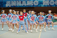 Performance of children cheerleaders team Sharks Stock Photography