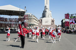 Performance of children's brass bands of Latvia Stock Photos