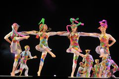 Performance of children`s dance group, Royalty Free Stock Images