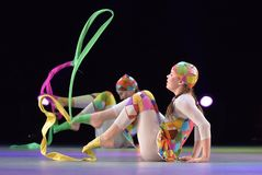 Performance of children`s dance group, Stock Photography