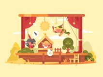 Performance children on scene. Play in theater with boy and girl. Vector illustration Royalty Free Stock Photography