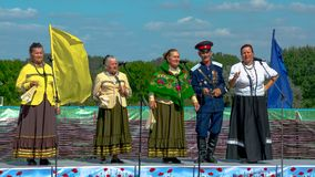 Performance of the Choir of Don Cossacks of the Rostov Region. At the open area there is a chorus of Don Cossacks of the Rostov region. They perform ancient Royalty Free Stock Image