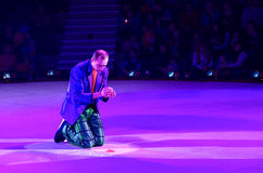 Performance of clown of Moscow Circus on Ice on tour Royalty Free Stock Images