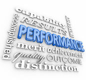 Performance 3d Word Collage Job Task Completed Achievement Stock Photo