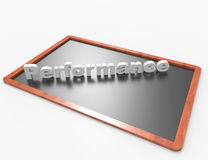 Performance 3d word concept. On blackboard, white background Stock Photography