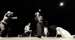 Performance of Dance Theater Cape Verde «Raiz Di Polon». Black and white Royalty Free Stock Photo