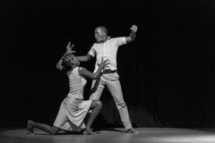 Performance of Dance Theater Cape Verde «Raiz Di Polon». Black and white Stock Photos