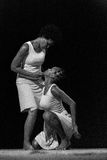 Performance of Dance Theater Cape Verde «Raiz Di Polon». Black and white Royalty Free Stock Photo