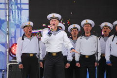 The performance of dancers, chorus and soloists of the ensemble of song and dance of the black sea naval Fleet (Sevastopol, Crimea. At the gala concert dedicated Royalty Free Stock Images