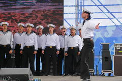 The performance of dancers, chorus and soloists of the ensemble of song and dance of the black sea naval Fleet (Sevastopol, Crimea Royalty Free Stock Images