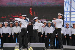 The performance of dancers, chorus and soloists of the ensemble of song and dance of the black sea naval Fleet (Sevastopol, Crimea. At the gala concert dedicated Royalty Free Stock Photo