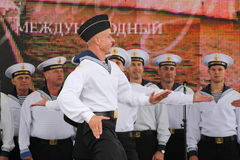 The performance of dancers, chorus and soloists of the ensemble of song and dance of the black sea naval Fleet (Sevastopol, Crimea. At the gala concert dedicated Stock Images
