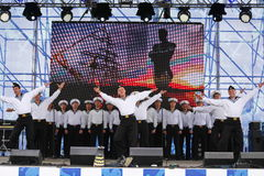 The performance of dancers, chorus and soloists of the ensemble of song and dance of the black sea naval Fleet (Sevastopol, Crimea. At the gala concert dedicated Royalty Free Stock Photos