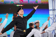 The performance of dancers, chorus and soloists of the ensemble of song and dance of the black sea naval Fleet (Sevastopol, Crimea. At the gala concert dedicated Stock Photos