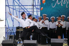The performance of dancers, chorus and soloists of the ensemble of song and dance of the black sea naval Fleet (Sevastopol, Crimea Royalty Free Stock Photo