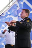 The performance of dancers, chorus and soloists of the ensemble of song and dance of the black sea naval Fleet (Sevastopol, Crimea. At the gala concert dedicated Stock Photo