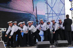 The performance of dancers, chorus and soloists of the ensemble of song and dance of the black sea naval Fleet (Sevastopol, Crimea. At the gala concert dedicated Stock Image