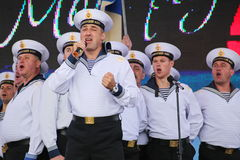 The performance of dancers, chorus and soloists of the ensemble of song and dance of the black sea naval Fleet (Sevastopol, Crimea. At the gala concert dedicated Royalty Free Stock Photography