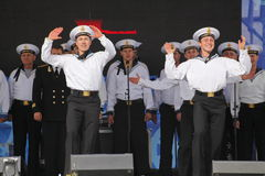 The performance of dancers, chorus and soloists of the ensemble of song and dance of the black sea naval Fleet (Sevastopol, Crimea. At the gala concert dedicated Royalty Free Stock Image