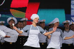 The performance of dancers, chorus and soloists of the ensemble of song and dance of the black sea naval Fleet (Sevastopol, Crimea Royalty Free Stock Photos
