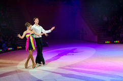 Performance of dancing couple  of Moscow Circus on Ice Royalty Free Stock Images