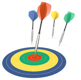 Performance. 4 Dart arrows. One hitting target. Color theme Royalty Free Stock Image