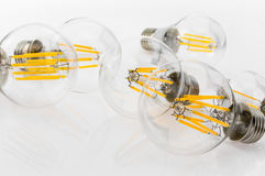 A performance different types of LED bulbs with different number Royalty Free Stock Photos