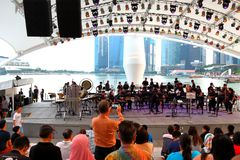 Performance at Esplanade Outdoor theatre Singapore Royalty Free Stock Photos