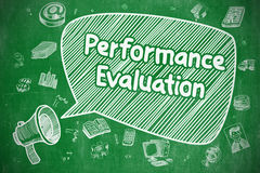Performance Evaluation - Business Concept. Speech Bubble with Inscription Performance Evaluation Doodle. Illustration on Green Chalkboard. Advertising Concept Royalty Free Stock Photos
