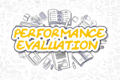 Performance Evaluation - Business Concept. Yellow Text - Performance Evaluation. Business Concept with Doodle Icons. Performance Evaluation - Hand Drawn Stock Images