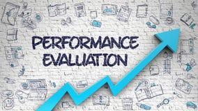 Performance Evaluation Drawn on Brick Wall. Performance Evaluation - Modern Style Illustration with Doodle Elements. Performance Evaluation - Development Royalty Free Stock Photos