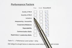 Performance Evaluation Form Stock Photo