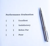 Performance evaluation form. Performance evaluation or appraisal form Royalty Free Stock Photo