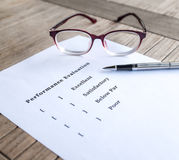 Performance evaluation form. Performance evaluation or appraisal form Royalty Free Stock Photos