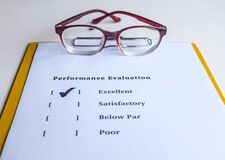 Performance evaluation form. Performance evaluation or appraisal form Stock Photos