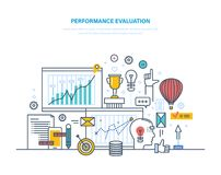 Performance evaluation working, quality control, performance productive, analysis of results. Performance evaluation working, quality control, performance Stock Photo