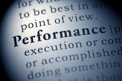 Performance. Fake Dictionary, Dictionary definition of the word Performance stock photo