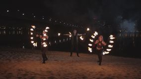 Performance of fireshow outdoor in city twilight stock footage