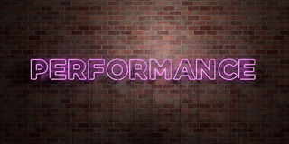 PERFORMANCE - fluorescent Neon tube Sign on brickwork - Front view - 3D rendered royalty free stock picture Stock Photo