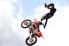 Performance of freestyle motocross. In Genoa on 5 May 2018, with the participation of the world champion of the specialty Royalty Free Stock Photo