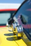 Performance gauges. Performance pressure and oil temperature gauges on a beautiful yellow dragster Stock Images