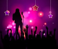The performance of the girl singer at the concert. Royalty Free Stock Photos