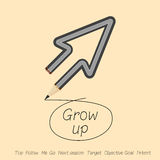 Performance grow up or follow me by arrow pencil Stock Photos