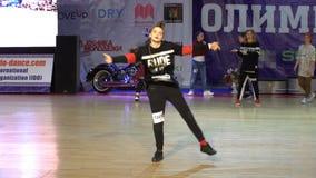 Performance hip-hop famale dancers. stock video