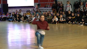 Performance hip-hop famale dancers. MOSCOW, RUSSIA - MAY 03, 2016: Performance hip-hop famale dancers. XIII World Dance Olympiad 2016 in Moscow stock video footage