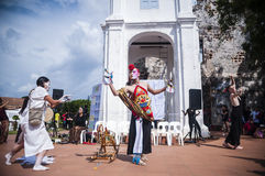 Performance at historical site Stock Image