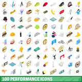100 performance icons set, isometric 3d style Royalty Free Stock Photos