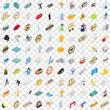 100 performance icons set, isometric 3d style. 100 performance icons set in isometric 3d style for any design vector illustration Stock Images
