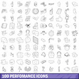 100 performance icons set, outline style Stock Photo