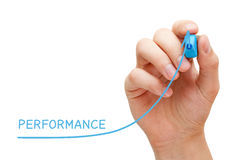 Performance Improvement Graph Concept. Hand drawing increased performance graph with blue marker on transparent wipe board Stock Photo